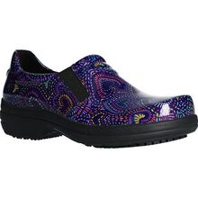 Easy WORKS by Easy Street Bind Women's Purple Multi Hearts Patent Leather Slip-Resisting Clog