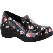Easy WORKS by Easy Street Leeza Festive Skulls Women's Slip-Resistant Patent Slip-On Shoe