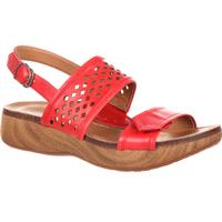 4EurSole Sprightly Women's Red Leather Low Wedge Slingback Sandal, , medium